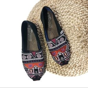 TOMS+ | Size 7.5 Suede Aztec Embroidered Slip-Ons